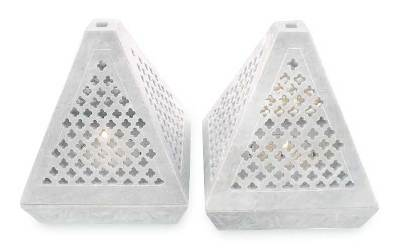 Soapstone candleholders, 'Lace Pyramid' (pair) - Hand Crafted Jali Soapstone Candle Holders (Pair)