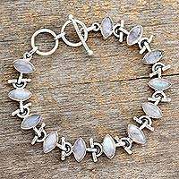 Rainbow moonstone bracelet, 'Hope' - Sterling Silver Rainbow Moonstone Bracelet Fair Trade