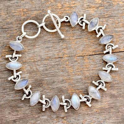 Rainbow moonstone bracelet, 'Hope' - Sterling Silver Rainbow Moonstone Bracelet Fair Trade