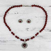 Carnelian jewelry set, 'Ode to the Sun' - Red Necklace and Earring Jewelry Set
