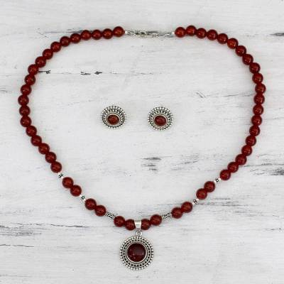 Carnelian jewelry set, 'Ode to the Sun' - Carnelian jewellery Set on Sterling Silver from India