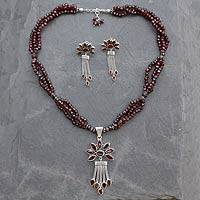 Garnet jewelry set, 'Daisy Passion' - Handcrafted Garnet Necklace and Earring Set