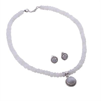 Moonstone Jewelry Set Sterling Silver Necklace Earrings