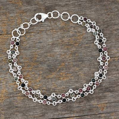 Tourmaline link bracelet, 'Translucent Contrasts' - Sterling Silver and Tourmaline Bracelet