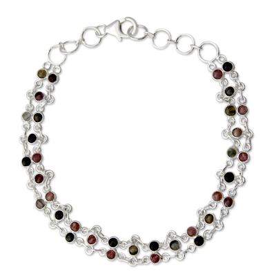 Tourmaline link bracelet, 'Translucent Contrasts' - Sterling Silver and Tourmaline Bracelet
