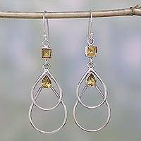 Modern Citrine and Silver Dangle Earrings