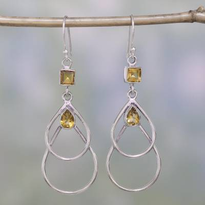 Citrine dangle earrings, 'Gold Ice' - Hand Crafted Citrine and Sterling Silver Dangle Earrings