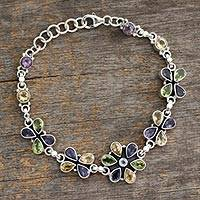 Amethyst and citrine pendant bracelet, 'Daisy Days' - Unique Floral Multigem Bracelet