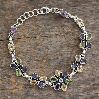 Amethyst and citrine pendant bracelet, 'Daisy Days' - Unique Floral Multigem Bracelet