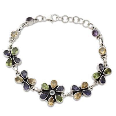 Unique Floral Multigem Bracelet
