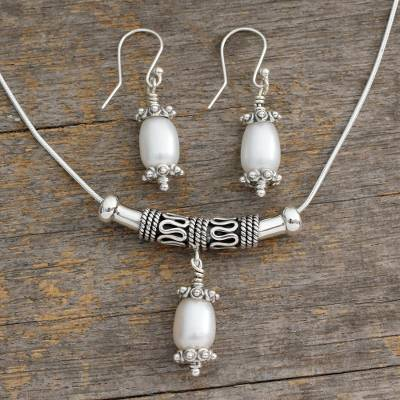Pearl jewelry set, 'Mermaid Tears' - Fair Trade Pearl and Sterling Silver jewellery Set