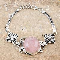 Rose quartz and pearl pendant bracelet, 'Moon Quadrants' - Rose quartz and pearl pendant bracelet