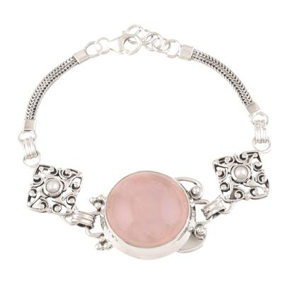 Rose quartz and pearl pendant bracelet