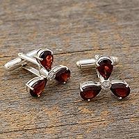 Garnet cufflinks, 'Bold Scarlet' - Men's Sterling Silver Cubic Zirconia Garnet Cufflinks