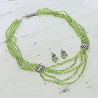 Peridot jewelry set, 'Forever Love' - Artisan Crafted Peridot Sterling Silver Beaded Jewelry Set