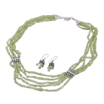 Artisan Crafted Peridot Sterling Silver Beaded Jewelry Set