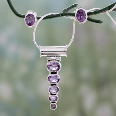 Amethyst jewelry set, 'Aware' - Amethyst Necklace and Earrings jewellery Set
