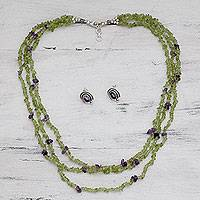 Peridot and amethyst jewelry set, 'Chic and Luminous' - Peridot and Amethyst Necklace and Earrings Jewelry Set