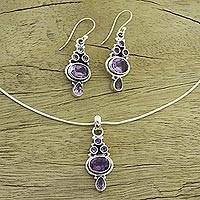 Amethyst jewelry set, 'Lilac Song' - Amethyst and Sterling Silver Pendant and Earrings from India