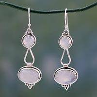 Rainbow moonstone dangle earrings, 'Goddesses'