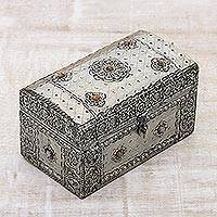 Nickel plated brass jewelry box, 'Royal Collection' - Handcrafted Repousse Brass jewellery Box from India