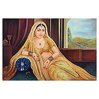 'The Wait' - Signed Painting of an Indian Woman