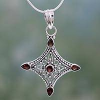Garnet pendant necklace, 'Jaipur Diamond' - Garnet and Silver Diamond Shaped Pendant Necklace India