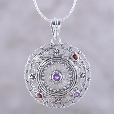 Multi-gemstone pendant necklace, 'Gemstone Mandala' - Hand Crafted Sterling Silver Multigem Pendant Necklace
