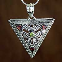 Garnet and peridot pendant necklace, 'Trinity' - Handmade Sterling Silver Garnet and Peridot Necklace