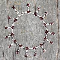 Garnet anklet, 'Scarlet' - Fair Trade Sterling Silver Garnet Indian Anklet Jewelry