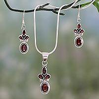 Garnet jewelry set, 'Eternal Passion' - Garnet Earrings and Necklace jewellery Set