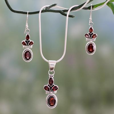 Garnet Jewelry Set Eternal Love Earrings And Necklace