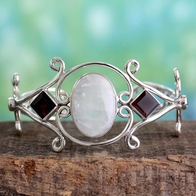 Rainbow moonstone and garnet cuff bracelet, 'Grace' - Moonstone Garnet and Amethyst Sterling Silver Cuff Bracelet
