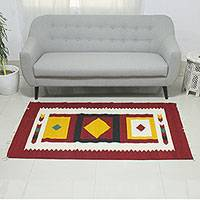Wool dhurrie rug, 'Diamond Sun' (4x6) - Wool Indian Area Rug (4x6)