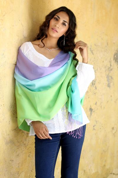 Silk and wool shawl, 'Aqua Rose' - Artisan Crafted Silk Wool Blend Shawl Patterned Wrap