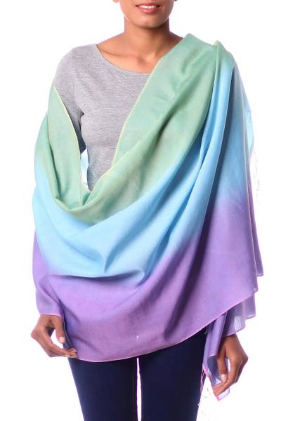 Silk and wool shawl, 'Aqua Rose' - Artisan Crafted Silk Wool Blend Shawl Patterned Wrap