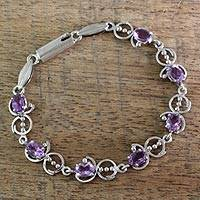 Amethyst link bracelet, 'Song of Joy' - Unique Sterling Silver and Amethyst Bracelet