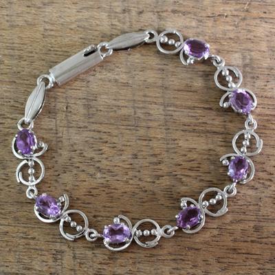 Amethyst link bracelet, 'Song of Joy' - Unique Sterling Silver and Amethyst Bracelet
