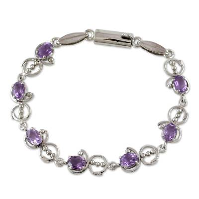 Unique Sterling Silver and Amethyst Bracelet