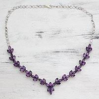 Amethyst Y-necklace, 'Gujarat Princess'