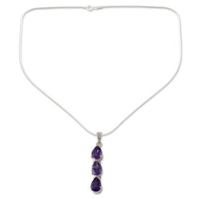 Amethyst pendant necklace, 'Violets' - Amethyst Y-necklace