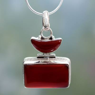 Onyx pendant necklace, 'Red Moon' - Unique Sterling Silver and Onyx Pendant Necklace