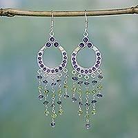 Amethyst and peridot chandelier earrings, 'Waterfall' - Sterling Silver Earirngs with Natural Gemstones