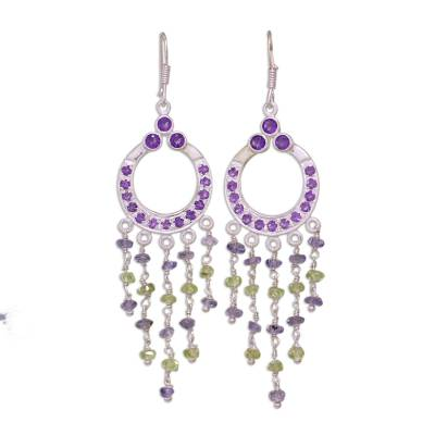 Amethyst and peridot chandelier earrings, 'Waterfall' - Sterling Silver Earirngs with Natural Gemstones