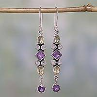 Amethyst and citrine dangle earrings, 'Duchess' - Amethyst and Citrine Earrings Artisan Crafted in India