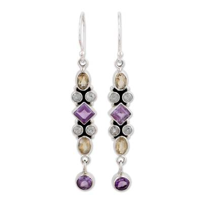 Amethyst and Citrine Earrings Artisan Crafted in India