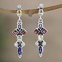 Garnet and iolite dangle earrings, 'Regent' - Natural Gemstone Earrings Handmade with Sterling Silver
