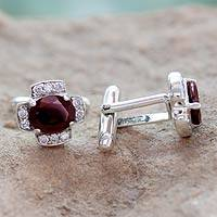 Garnet cufflinks, 'Sophisticate' - Garnet and Sterling Silver Cufflinks from India