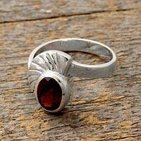 Garnet solitaire ring, 'Love Shield' - Handmade Sterling Silver and Garnet Ring