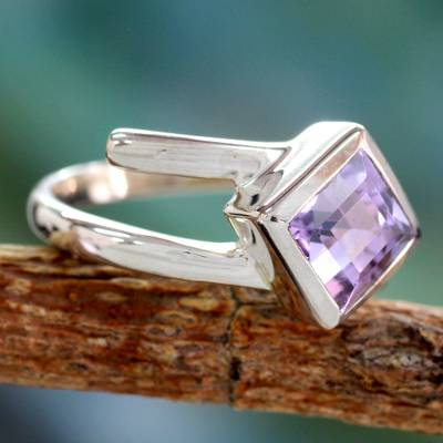 Hand Crafted Sterling Silver Single Stone Amethyst Ring